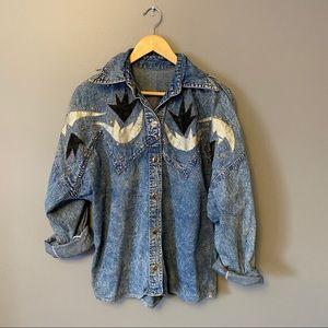 Vintage Western Denim Shirt with Embellishments